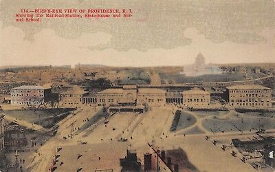 Postcard RI Birds Eye View Providence Railroad Station State House Normal School
