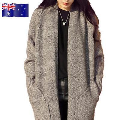 AU!!! Women Long Sleeve Sweater Cardigan Jumper Knit Jacket Loose Coat Outwear