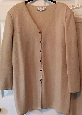 St. John Collection  by Marie Gray V neck button front  Sweater 12 golden Beige