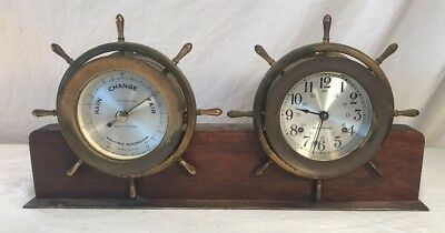 Vintage SETH THOMAS Ships Clock And Barometer Mahogany & Brass