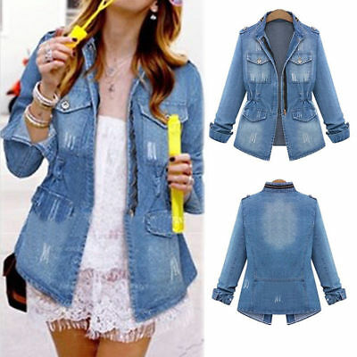 Women's Girls Winter Denim Jeans Jacket Faded Oversized Coat Outerwear Plus Size