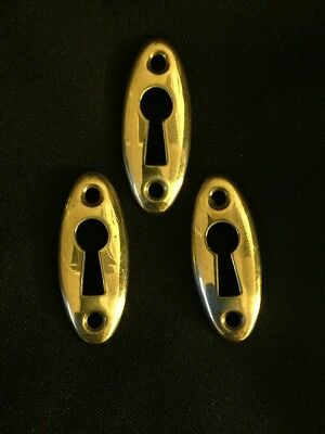 Vintage Lot of 3 Convex Oval Shiny Brass Escutcheon Skeleton Keyhole Covers