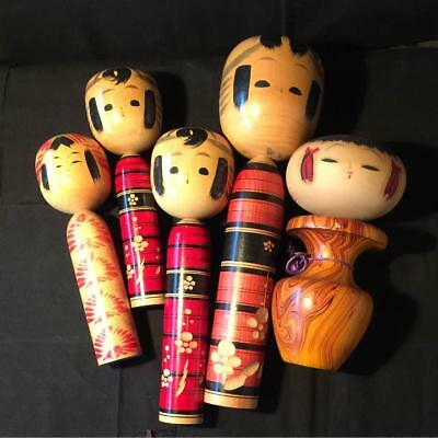 Kokeshi Japanese traditional crafts retro cute vintage rare popular 5 pcs F / S!