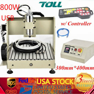 USB 4 Axis 3040 CNC Router Engraving Milling Carving Machine 800W w/ Controller