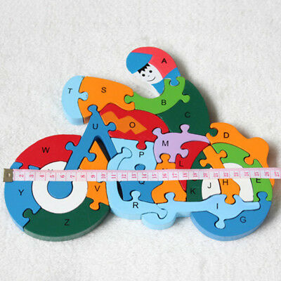 Wooden Puzzle Jigsaw Alphabet Number Blocks Kid Educational Toy Preschool New