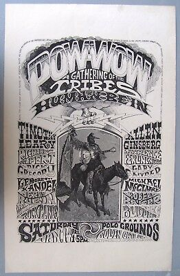 1967 Pow-Wow Gathering of the Tribes Poster, Grateful Dead+.  Rick Griffin art.