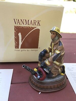 Vanmark Red Hats Of Courage Fireman With Hose Figurine First Edition