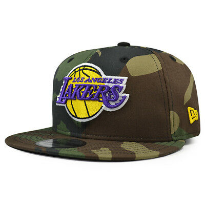 cheap for discount f11f8 69c64 Los Angeles Lakers Woodland Camo Snapback 9Fifty New Era NBA Hat