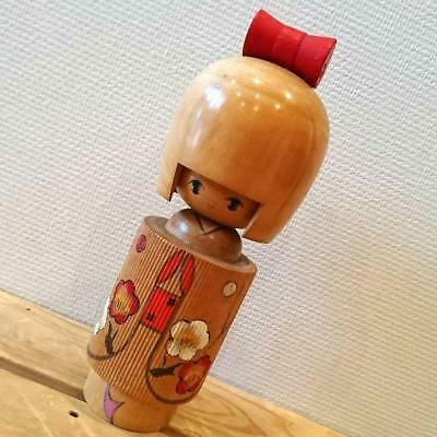 Kokeshi Japanese traditional crafts retro cute vintage rare ribbon girl  F / S!