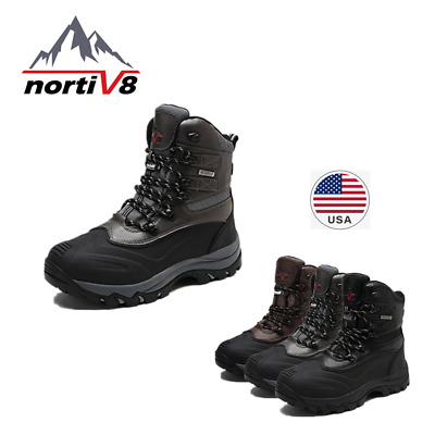 NORTIV Men's Insulated Waterproof Rubber Sole Winter Rain Snow Skii Ankle Boots