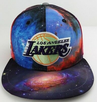 big sale a574b 5e3bf Los Angeles Lakers Galaxy print NBA New Era 59FIFTY fitted hat basketball  cap