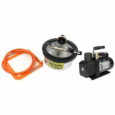 Best Value Vacs SVac 2 Qt Flat Stainless Steel Vacuum Chamber and VE225 4CFM ...