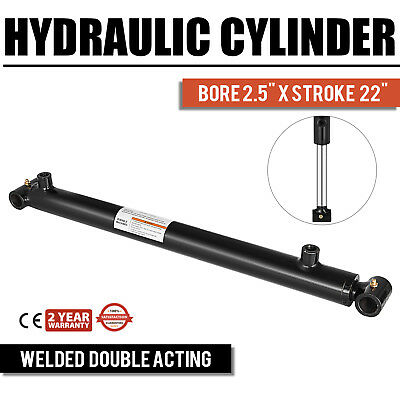 "Hydraulic Cylinder For Loader Welded Double Acting 2.5"" Bore 22"" Stroke 2.5x22"