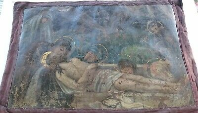 Antique Russian Orthodox Epitaph Hand-Painted in Canvas 19th century.