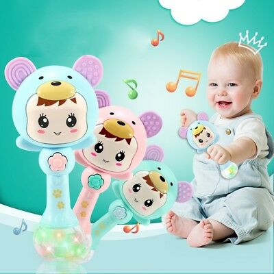 Toddler Baby ABS Teething Stick Baby musical Rattle Teether Early Learning Toy