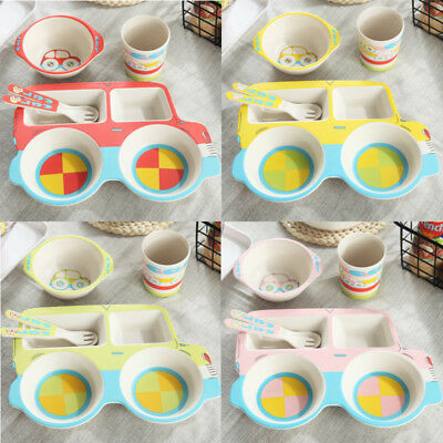 Natural Bamboo Fiber Bowls Cute Cartoon Baby Tableware Baby Feeding Plate Bowl