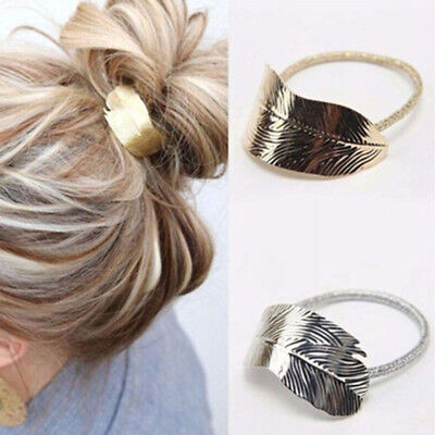 Leaf Shape Hair Ponytail Ring Elastic Band Cuff Cover Rope Holder Headwear CB