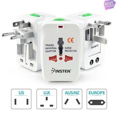 Universal World Wide US/EU/AU/CN/JP/UK Travel AC Charger Adapter Plug, White