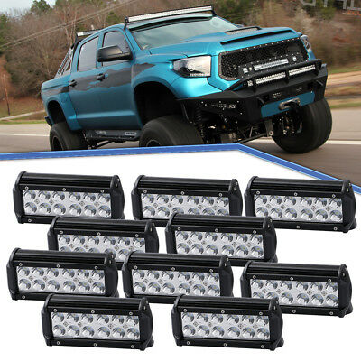 10Pcs 7inch 36W LED Driving Lights Spotlight Black OffRoad Lamp For 4X4 SUV Jeep