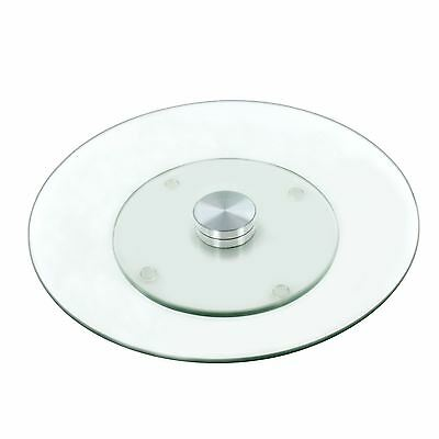 New Tempered Glass Lazy Susan Turnable Rotating Serving Plate Cheese Cake Tray