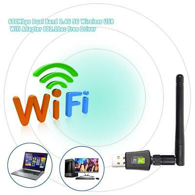 600Mbps 5G 2.4G Dual Band USB WiFi Dongle Antena Inalámbrico LAN Card Adaptador