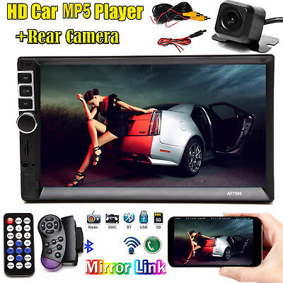 7inch 2DIN Car MP5 Player Bluetooth Aux Touch Screen Stereo Radio HD+Rear Camera