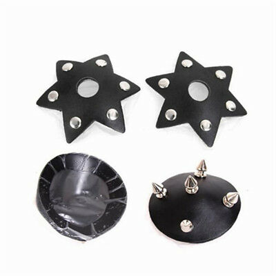 2pcs Black Leather Rivet Studs Nipple Cover Stickers Breast Pasties Reusable Toy