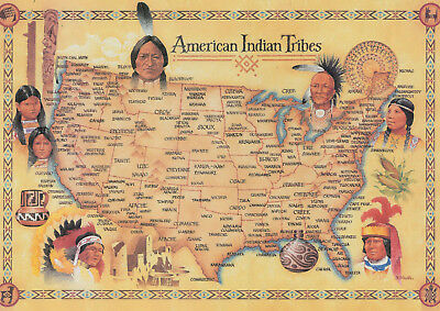 1650 US MAP Indian Tribes & Linguistic Stocks Native ...
