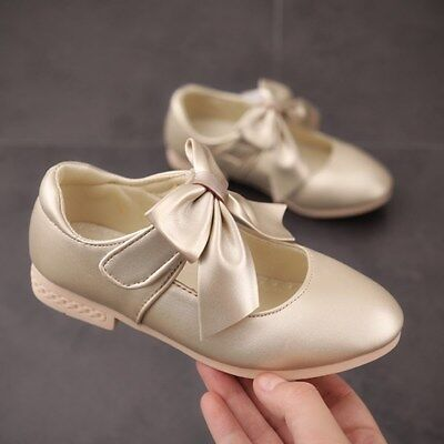 Infants Baby Girls Patent Glossy Satin Bow Toodler Wedding Flat Shoes Size Uk