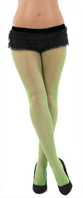 122320c7a Quality Neon Green Pink Diamond Fishnet Tights net fancy dress 80s 80 Disco