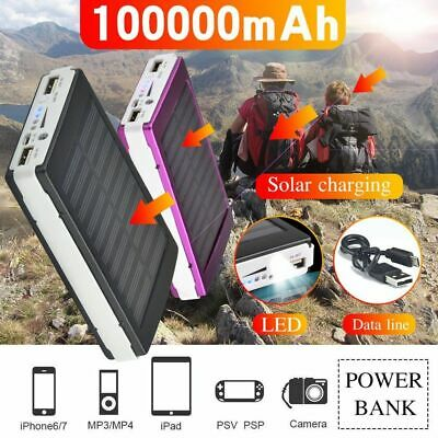 External Solar Power Bank 2USB 100000mAh Battery Portable Charger For Mobile