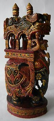 Wooden Handcrafted Elephant Carved Fine Hand Painted Elephant Collectible Art