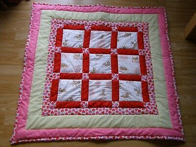 Handmade Quilted Baby Quilt Cot / Pram Baby  Bambi Fabric