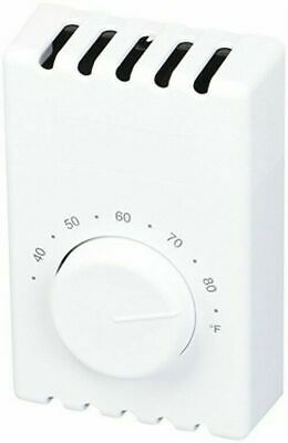 Cadet 08121/T410A  White Single Pole Wall Mount Baseboard Heater Thermostat