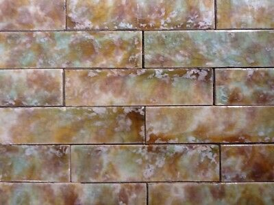 Vintage Victorian Antique Fireplace Tile Mantle Hearth Assorted Amber Fern 65pc