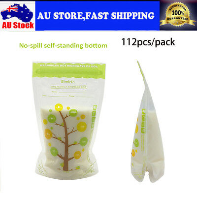 112 Pcs/Bag Breast Milk Storage Baby Food 235ml 8oz Freezer Container Bags AU