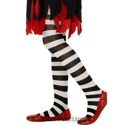 A759 Black White Striped Costume Tights Stockings Alice in Wonderland Halloween