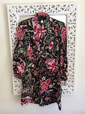 Zara Woman Black Lace Cut Out Red and Pink Floral Print Dress, Size S UK 8 10