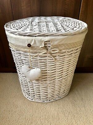 White Wicker Laundry Basket with Heart Detail Removable Lining Lid THREE SIZES