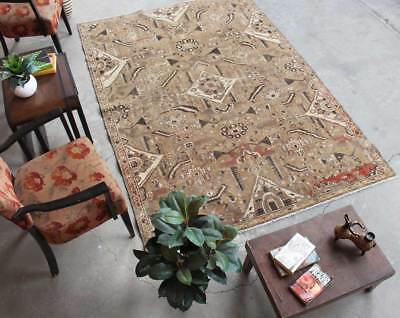 Distressed Hand Knotted Vintage Antique Oriental Wool Geometric Oriental Rug