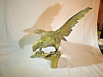 "Vintage Large Brass Eagle Figurine Statue 17""Wing Span"