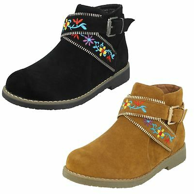 Girls Low Heel Ankle Winter Boots Zip Up Embroidery Detail Strap Spot On H5R072