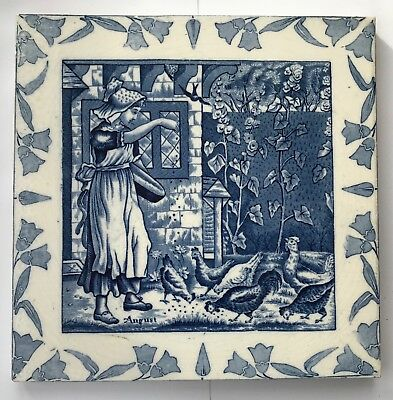 "Rare 8"" Original Antique Wedgwood Blue and White August Tile C1880"