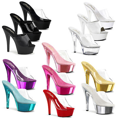 83bc55201a98 SEXY CLEAR AND Black Platform High Heel Stiletto Shoes Stripper ...