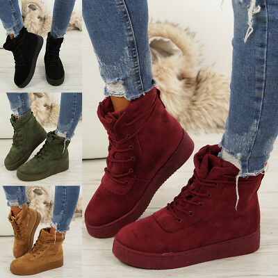 Ladies Lace Up Ankle Boots Womens Faux Suede Wedge Heels Platform Winter Shoes