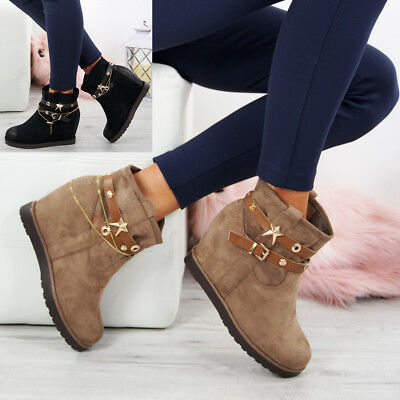 Ladies Wedge Ankle Boots Womens Slip Pull On Boot Platform Comfy Shoes