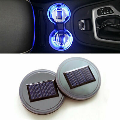 2× Solar Power LED Cup Holder Bottom Pad Car SUV Atmosphere Trim Lamp Cover Mat