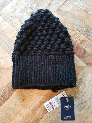 Norla Canada BLACK Knit Winter Knitted Beanie Hat Handmade One Size New  with tag a3b53ce6f406