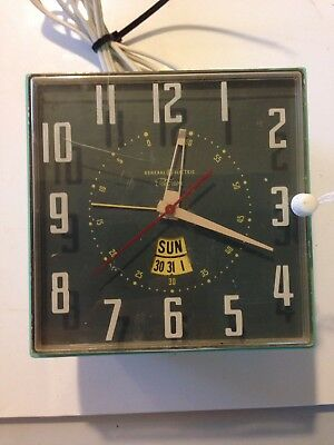 Rare Vintage General Electric Telechron Clock With Day & Date