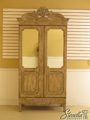 45137EC: Country French Distressed Finish 2 Door Mirrored Armoire